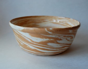 Vintage Pottery Bowl, Tan and White, Swirl, Home Decor, Hand Crafted