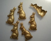 6 sitting rabbit charms