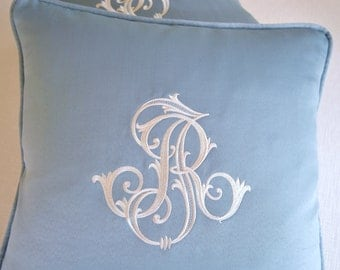EMBROIDERED MONOGRAM PILLOW - Custom Made Extra Large Monogram - Ivory - Spa Color Satin