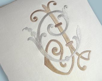 monogram pillow embroidered ivory linen throw pillow sofa pillow bedroom pillow