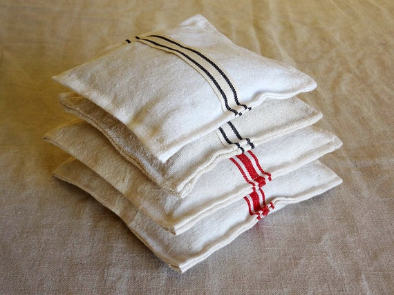 linen lavender sachet, made from vintage French tea towels and French lavender buds