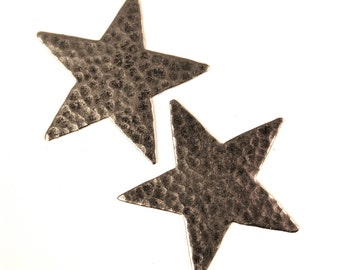 Metal Hammered Star Stampings Plated Silver Made in USA x 2