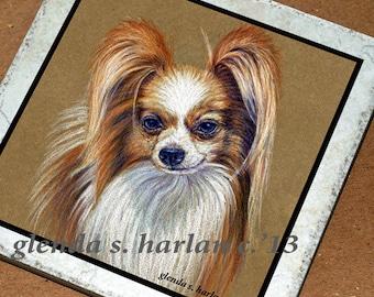 Papillon Dog Fine Art 6 inch Decorative Tile Trivet