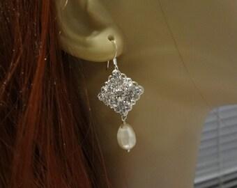Wedding Earrings, Bridal Pearl earrings, bridal earrings, Rhinestone Earrings diamond