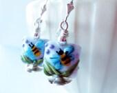 Bee Lampwork earrings.  Bumblebee earrings.  Honeybee earrings.  Insect earrings.  Bee jewelry.  Spring earrings.