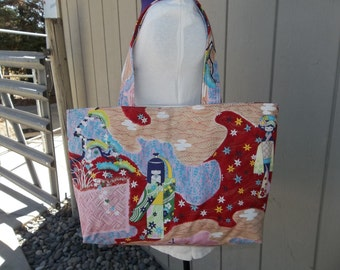 Sale Red and Pink Asian Tote Bag