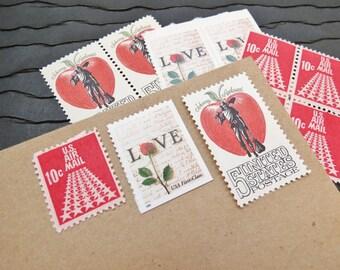 Apple of My Eye ..  UNused Vintage Postage Stamps  .. post 5 letters