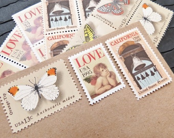 California .. LOVE .. Vintage UNused Postage Stamps .. to post 5 letters
