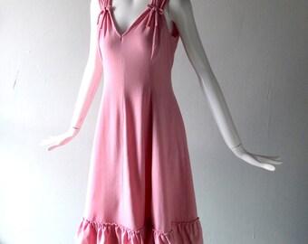 Vintage Bubble Gum Pink Dress - 1960s Tropical Wool Crepe by Lilya Nicis w/ Ruffle Hemline - size 6 8 10 - 36 Bust - Summer Wedding Glam