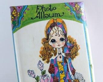 1970s Photo Album - Sally Draper Photograph Book - Holiday Fair Japan - Blythe Style Big Eye Margaret Keane Girl Hippie 70's Teen Realness