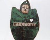 Ceramic welcome sign leaf mask housewarming gift wedding present