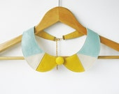 Mint Yellow Leather Necklace Peter Pan Detachable Collar - Leather Bib Necklace Gift Idea