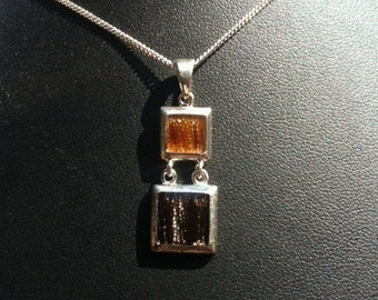 Horse Hair Jewelry Sterling Silver double square pendant Horsehair Jewelry Sterling silver jewelry Pet Memorial