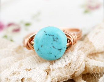 Friendship - Turquoise wire wrapped ring (SR)