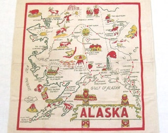 Alaska Tablecloth Cactus Cloth Red and Green