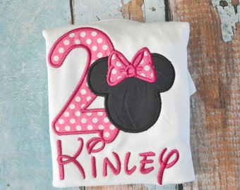 Girls Minnie Mouse Birthday Shirt, Girls Birthday Shirt, Pink Polka Dot Minnie mouse shirt