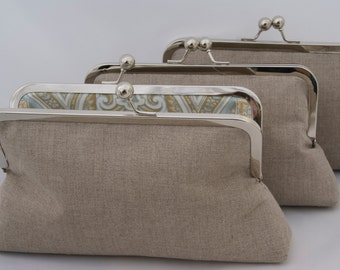 Set of (3) Neutral Linen Handbags For Bridesmaids Design your Own for Custom Bridesmaids Gift