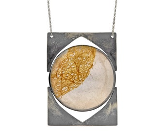 Mica and Cocoon Study, sterling silver necklace with golden cocoon and mica