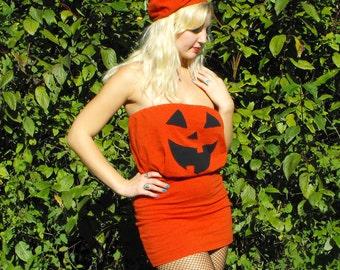 READY TO SHIP Jack O Lantern Pumpkin Halloween Costume Strapless Dress