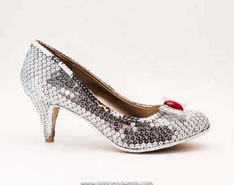 The Silver Shoes / Sequin High Heel Pumps with Red Gemstone and Silver Rhinetone Bows