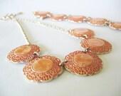Coral Aluminum Necklace Bracelet Goldtone W. Germany 1960's