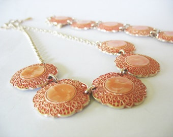 Coral Aluminum Necklace Bracelet Goldtone W. Germany 1960's