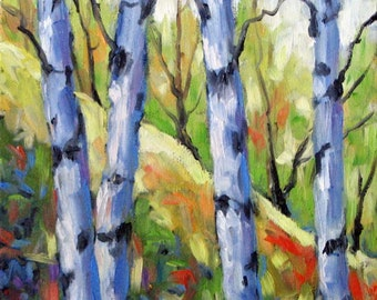 Birches Number 9 - Mini Original Canadian Landscape painting created by Prankearts