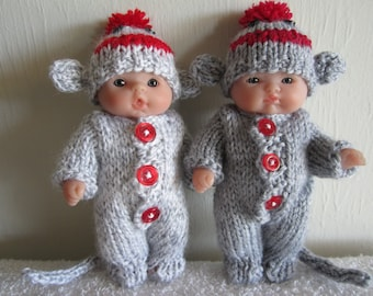 Sock Monkey Knitting Pattern 5 Inch Chubby Lots to Love Berenguer Baby Dolls suit hat tail grey marl and red doll clothes