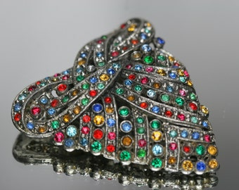 Vintage Silver Tone and Multi-Colored Stone Dress/Fur Clip