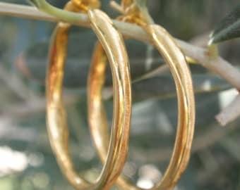 gold hoop earrings 24k gold plated sterling silver hoop earrings handmade channel shaped hoop earrings post earrings everyday wear jewelry