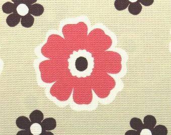 2443A - Half Yard - Retro POP Flower Fabric Brink Pink in Beige - Japanese Cotton Designed and Printed by Matilda