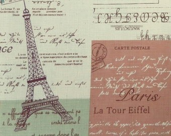 2475A -- La Tour Eiffel, Paris, Eiffel, Perfume, Triumphal Arch, Macarons Patchwork Fabric in Pink and Green Combo Combo