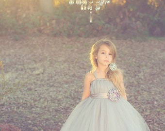 Grey Flower Girl Tutu Dress with Flower Sash in Grey and Lavender
