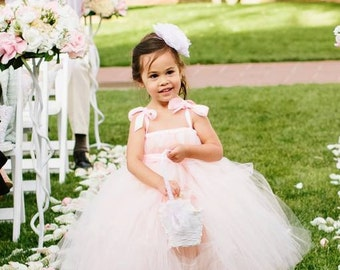 Pink Blush Flower Girl Tutu Dress