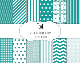 Teal Digital Scrapbook Paper 12x12 Pack - Set of 12 - Polka Dots, Chevron, Stripes, Gingham - Instant Download - #8045