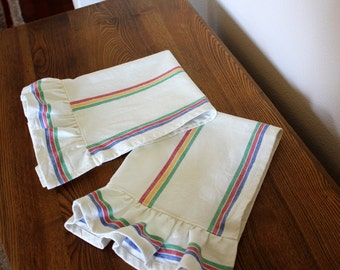 Ruffled Striped Tea Towel - Retro Mult-Stripe