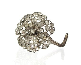 Adorn Your Do - Vintage 1950s Rhinestone Flower Hair Comb, Bridal Hair Accessory, Prong Set Stones with Hinged Snap Open Clip Comb