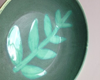 Item 205 Evergreen with Turquoise Leaf Bowl