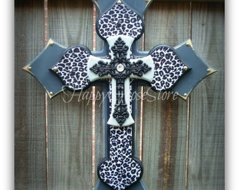 Wall CROSS - Wood Cross - Large - Gray and Black Leopard/Cheetah