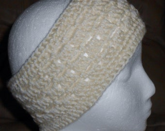 Knitted Headband Ear Warmer Off White