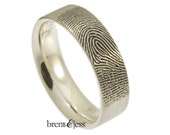 Wide Comfort Fit Fingerprint Wedding Ring with Tip Print on the Outside in High Polish Sterling Silver