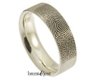 Wide Comfort Fit Fingerprint Wedding Ring with Tip Print on the Outside in High Polish Sterling Silver, Fingerprint Ring