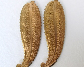 Vintage Brass Stamping Scalloped Embossed Leaves 50mm stp0079 (2)