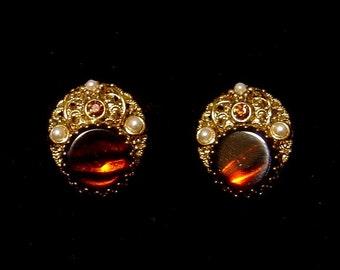 Vintage West Germany Earrings tiger stripe glass Earrings w/ faux pearls