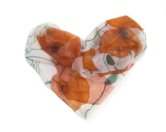 Hand painted Silk scarf/ Orange Poppies scarf/ Silk Chiffon scarf / Floral Silk Scarf/ Woman fashion scarf/  Holiday gifts MADE TO ORDER