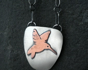 Mixed Metal Hummingbird Necklace- Sterling Silver and Copper
