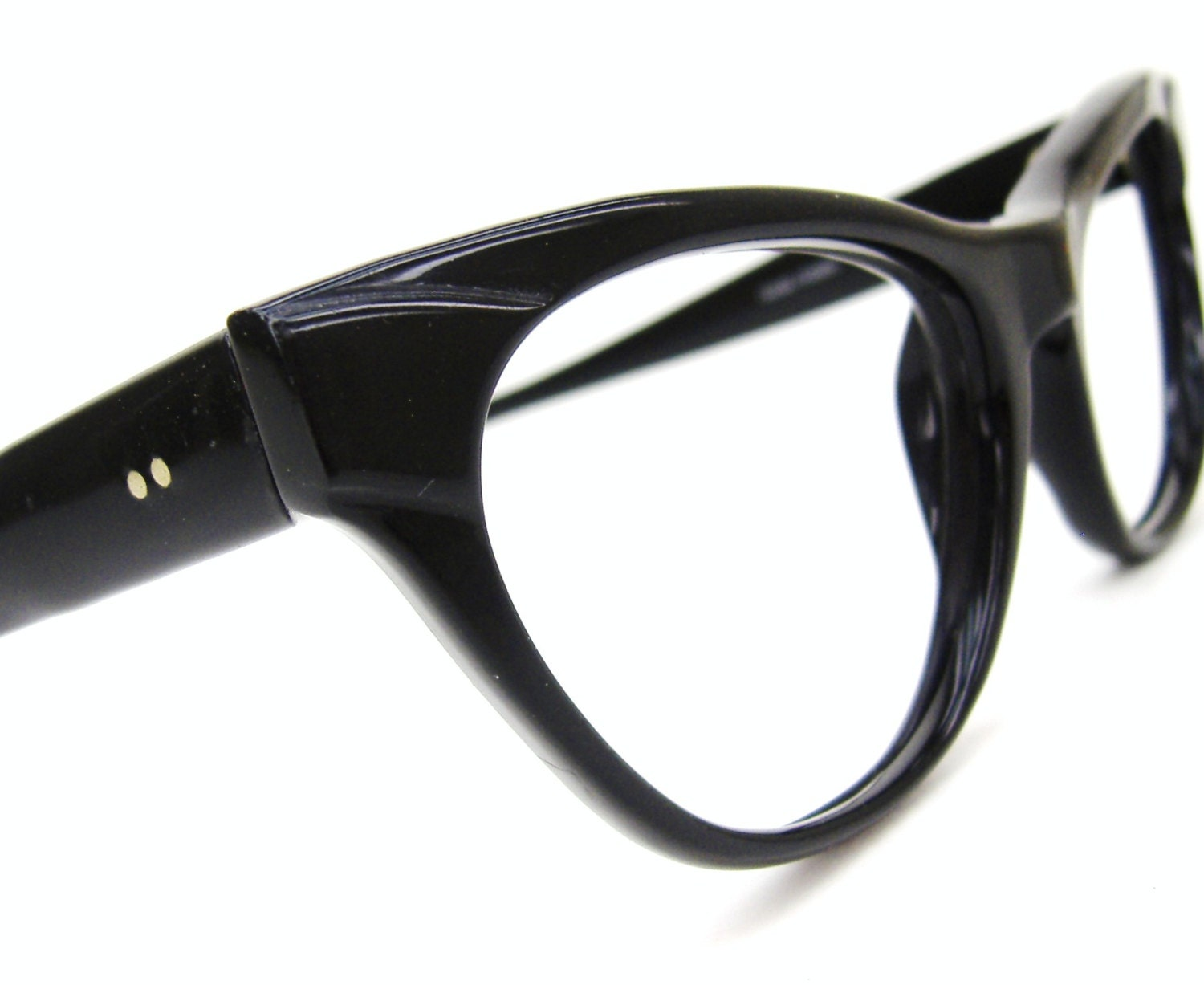 Frame Of Glasses In French : Vintage 60s Black Cat Eye Glasses French Frame