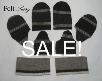 SALE - Wool Sweater Mitten Kit - Children Size DIY - Fully Lined #115