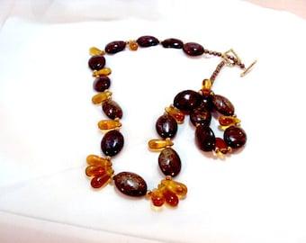 OOAK Bronzite and Golden Topaz Bead Necklace