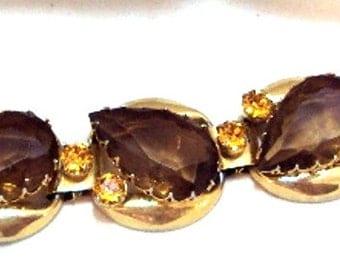 Pear Shaped Dark Golden Topaz Wide Link Vintage Bracelet
